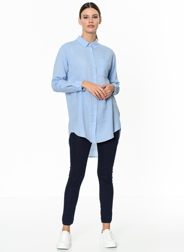 Fashion Friends Önü Kısa Arkası Uzun Gömlek Mavi